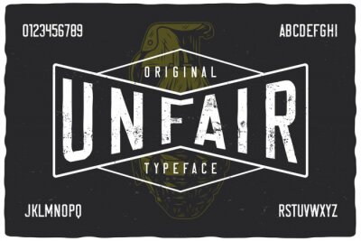 Naklejka Vintage label font named Unfair. Strong typeface with letters and numbers for any your design like posters, t-shirts, logo, labels etc.