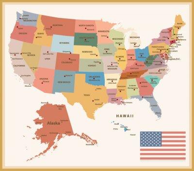 Naklejka Vintage map Kolor polityczna USA