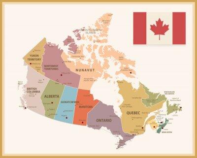 Naklejka Vintage mapa z flagą Kanady