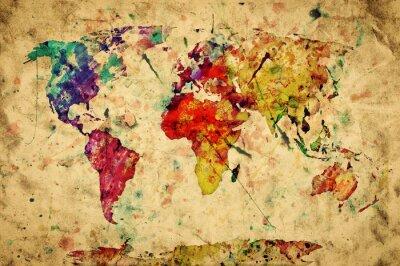 Naklejka Vintage mapie świata. Kolorowe farby, akwarela na papierze grunge