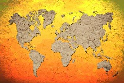 Naklejka Vintage mapie świata z czerwonym tle