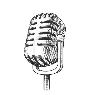 Naklejka Vintage mikrofon ręcznie rysowane wektor grawerowania