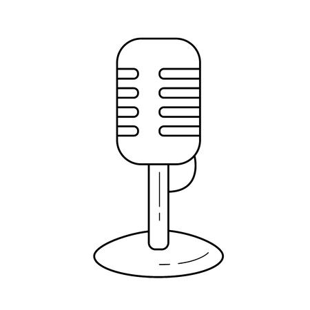 Vintage mikrofon wektor linia ikona na białym tle. Vintage ikona linii mikrofon infografika, strony internetowej lub aplikacji. Ikona zaprojektowana na systemie siatki.