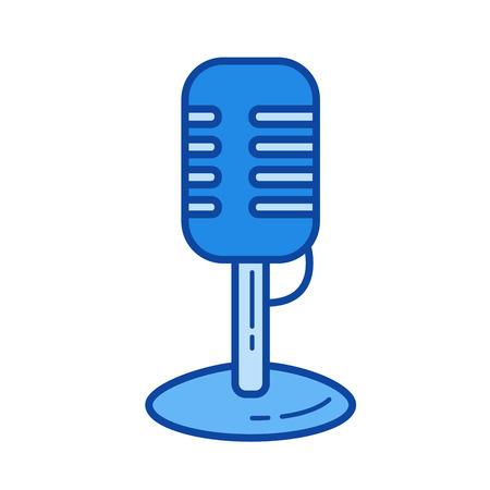 Vintage mikrofon wektor linia ikona na białym tle. Vintage ikona linii mikrofon infografika, strony internetowej lub aplikacji. Niebieska ikona zaprojektowana na systemie siatki.
