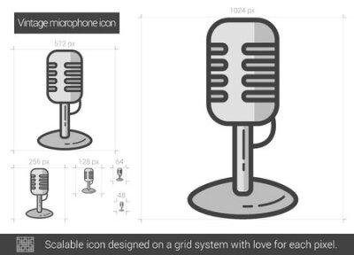 Vintage mikrofon wektor linia ikona na białym tle. Vintage ikona linii mikrofon infografika, strony internetowej lub aplikacji. Skalowalna ikona zaprojektowana na systemie siatki.