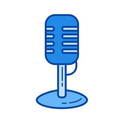 Vintage mikrofon wektor linii ikonę wyizolowanych na białym tle. Vintage ikona mikrofonu dla infografiki, witryny lub aplikacji. Niebieska ikona zaprojektowana w systemie siatkowym.