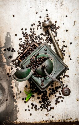 Naklejka Vintage młynek do kawy z tłuczkiem