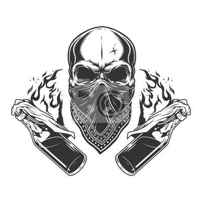 Naklejka Vintage monochromatyczne gangsterskie czaszki
