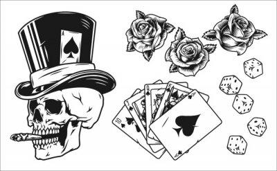 Naklejka Vintage monochrome gambling elements set