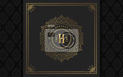 Naklejka Vintage monogram logo elegant flourishes line art graceful ornaments victorian style vector template design