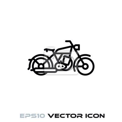 Vintage motorcycle vector line icon