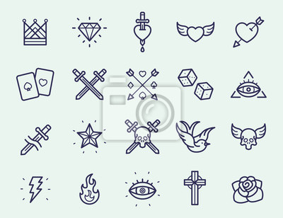 Vintage Old School Tattoo Minimalna kolorowa liniowa linia prostokątna Ikona udarowa Piktogram Ilustracja symbolu ilustracji Set Collection