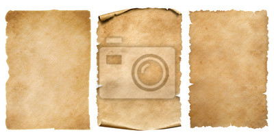 Naklejka Vintage paper or parchment sheets set isolated on white