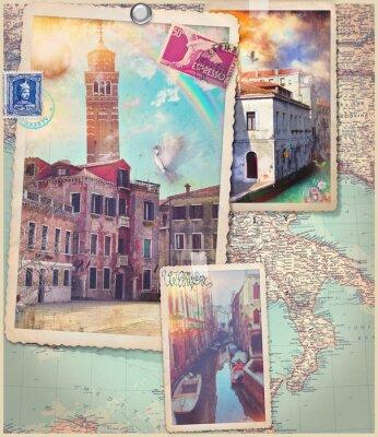 Naklejka Vintage pocztówki i kolaż Wenecja Wenecja