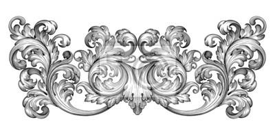 Vintage ramka liść przewijania barokowy grawerowanie kwiatowy ornament granicy starodawnym stylu retro wzór wirować dekoracyjny element filigran czarno-biały wektor