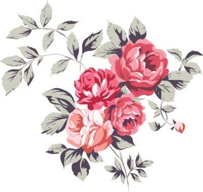 Naklejka Vintage różowe róże