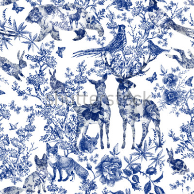 Naklejka Vintage seamless design with floral and wild animal. Fairytale forest. hand drawn pattern roses flower line graphics. fashion textile design Indigo color.