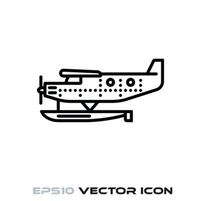 Vintage seaplane vector line icon