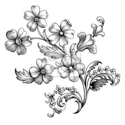 Vintage spring flower summer Baroque Victorian frame border floral ornament scroll leaf engraved retro pattern decorative design tattoo black and white filigree calligraphic vector