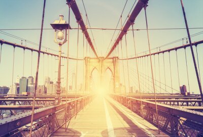 Naklejka Vintage stylizowany obraz Brooklyn Bridge, Nowy Jork.