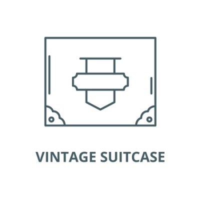 Vintage suitcase vector line icon, outline concept, linear sign