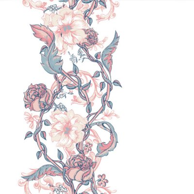 Naklejka Vintage szwu granicy z kwitnące magnolie, róże i gałązek