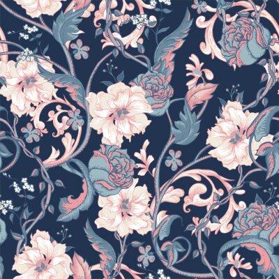 Naklejka Vintage szwu z kwitnące magnolie, róże i gałązka