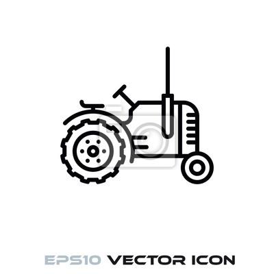 Vintage tractor vector line icon