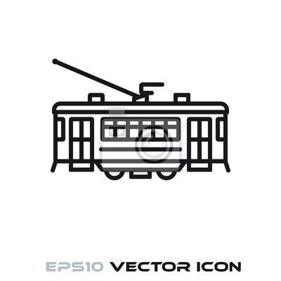 Vintage tram vector line icon