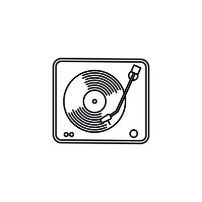 Vintage turntable vector line icon