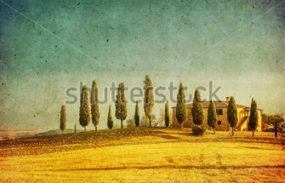 Naklejka vintage tuscan landscape