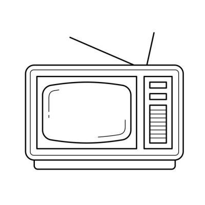 Vintage TV wektor ikona linia na białym tle. Vintage linii telewizyjnej ikona infografika, strony internetowej lub aplikacji. Ikona zaprojektowana w systemie gridowym.
