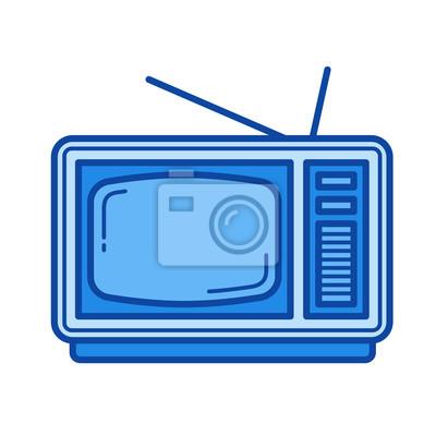 Vintage TV wektor ikona linia na białym tle. Vintage TV linia ikona infografika, strony internetowej lub aplikacji. Niebieska ikona zaprojektowana na siatce.