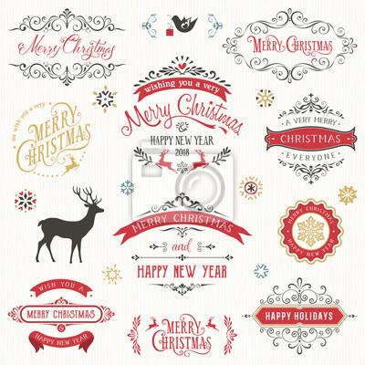 Vintage typograficzny scenografia. Ozdobne etykiety wektorowe i plakietki z Wesołych Świąt i Szczęśliwego Nowego Roku życzenia.