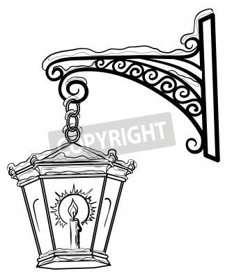 Naklejka Vintage uliczne lampy świecące w śniegu, wisi na ozdobnym uchwytem. Kontury.