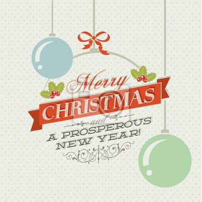 Vintage wektor Boże Narodzenie karty z choinkowe