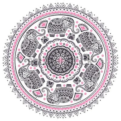 Naklejka Vintage wektor graficzny wzór indyjskiego lotosu ładny słoń etniczne mandali. Afrykański ornament plemienny. Może służyć do kolorowania książki, tekstyliów, nadruków, etui na telefon, karty okolicznoś