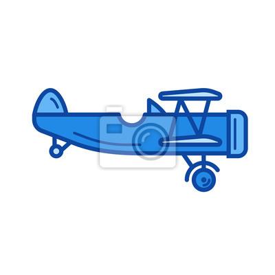 Vintage wektor ikona linii prostej na bia? Ym tle. Vintage ikona płaszczyzny dla infografiki, witryny lub aplikacji. Niebieska ikona zaprojektowana w systemie siatki.