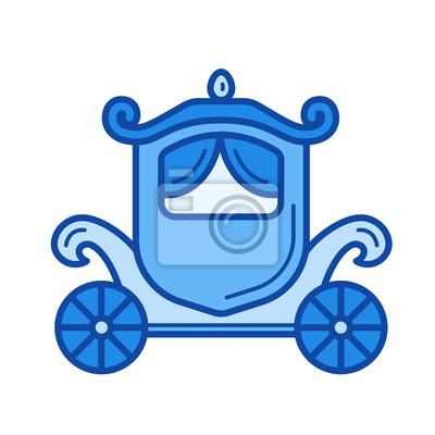 Vintage wektor ikona przewozu wektor na białym tle. Ikona linii rocznika karetki dla witryny infograficznej, witryny lub aplikacji. Niebieska ikona zaprojektowana w systemie siatki.