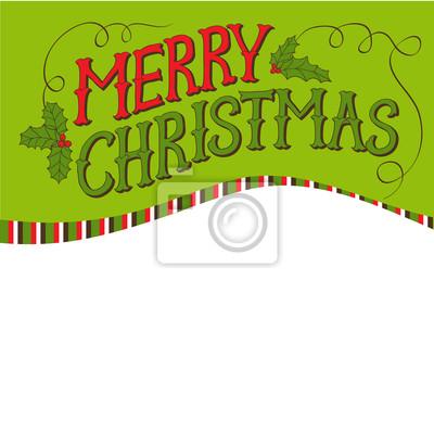 Vintage Wesołych Christmas Card. Ręcznie rysowane litery wektorowych.