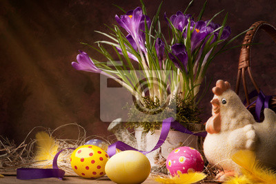 Vintage Wielkanoc karty, wiosenne kwiaty na drewnianym tle