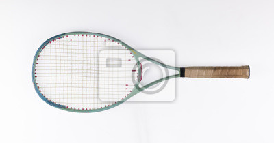 Naklejka vintage wooden tennis racket on a white background