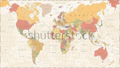Naklejka Vintage World Map - Detailed Vector Illustration