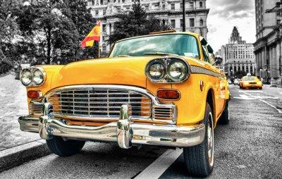 Naklejka Vintage Yellow Cab w Lower Manhattan - New York City