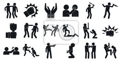Naklejka Violence icons set. Simple set of violence vector icons for web design on white background
