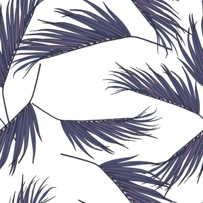 Naklejka Violet coconut palm leaves by hand drawing and sketch with line-art seamless pattern on white  backgrounds.