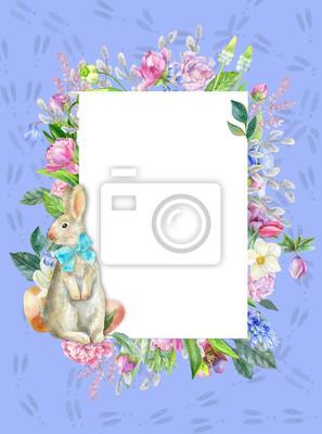 Violet frame with hare footprints