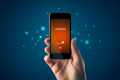 Naklejka Vishing call warning on smart phone concept