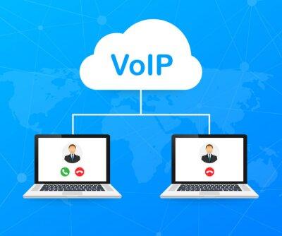 Naklejka VoIP technology, voice over IP. Internet calling banner. Vector illustration.