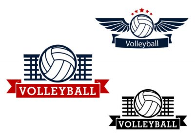 Naklejka Volleyball emblems with game items